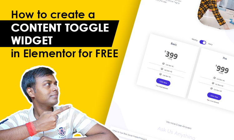 create content toggle widget in elementor