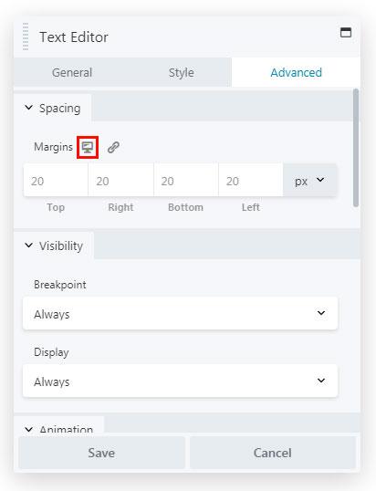 beaver builder responsive option