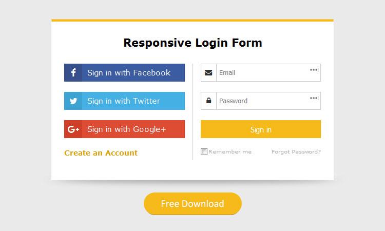 Simple responsive login form template free dwonload - DesignTheWay